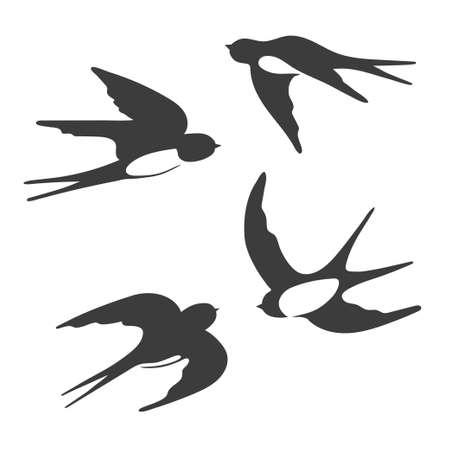 Set of silhouettes of flying swallows. Vector illustration. Illustration