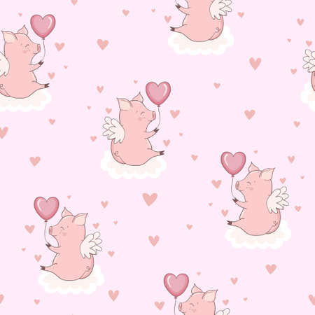 Seamless pattern with cute pink cupid pigs on the clouds. Valentine day vector illustration. 向量圖像
