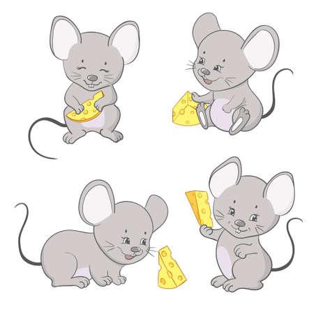 Souris avec illustration vectorielle de fromage. Ensemble de mignonnes petites souris.