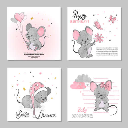 Greeting Birthday cards set with cute little mouse. Vector illustration.