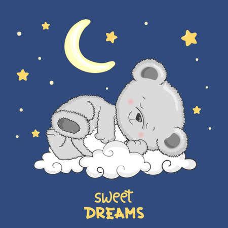 Cute Teddy Bear sleeping on the cloud. Sweet dreams vector illustration.