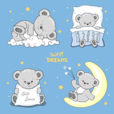 Dulces sueños con lindos ositos de peluche durmiendo. Ilustración de vector para niños. Ilustración de vector