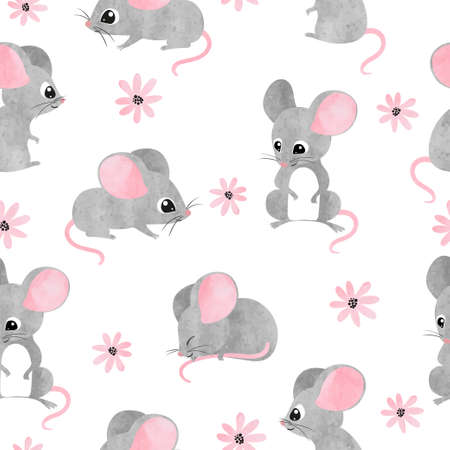 Naadloze aquarel schattige muizen patroon. Vector muis achtergrond voor kinderen.