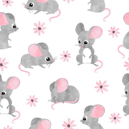 Nahtloses Aquarell niedliches Mäusemuster. Vektormaushintergrund für Kinder.