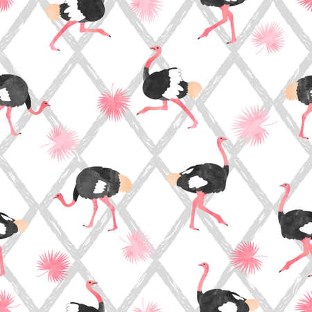 Seamless trendy pattern with  ostrich and palm leaves.