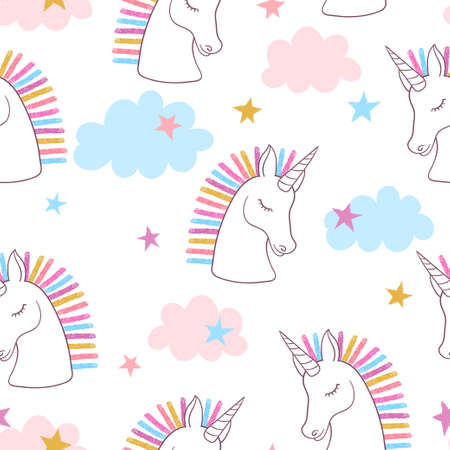 Seamless rainbow unicorns pattern. Vector magic background for kids.