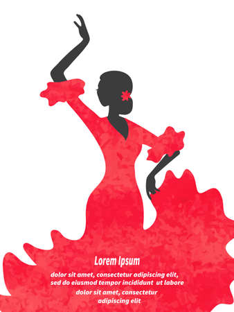 Watercolor Flamenco Dancer vector illustration. Spanish girl. Illustration