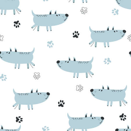 Seamless cute pissing dogs pattern. Vector kids background.