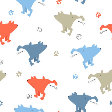 Seamless cute pissing dogs pattern. Illustration