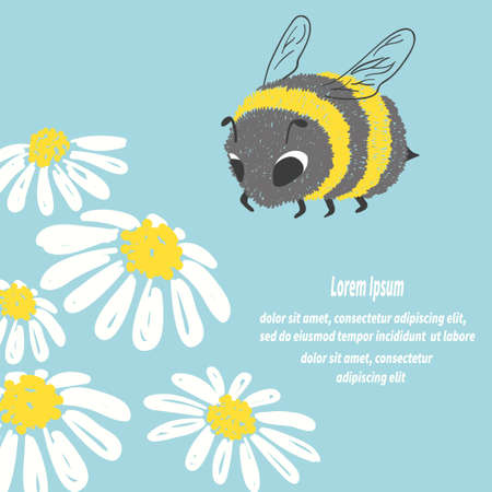 Hand drawn cute bee and flowers. Vector summer illustration.