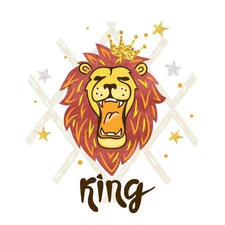 Roaring lion head. Vector illustration.