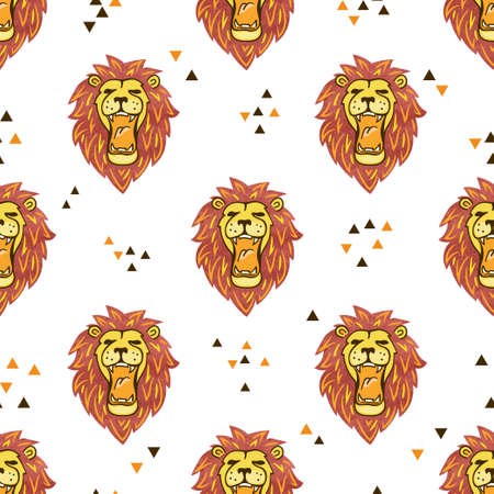 Vector seamless pattern with roaring lions and triangles. Vector Illustration