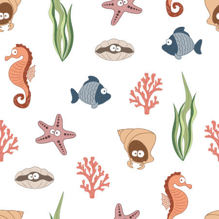 Cute sea animals seamless pattern. Children drawings, underwater life. Vector.