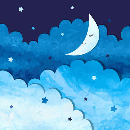 Vector watercolor illustration of clouds and moon. Иллюстрация