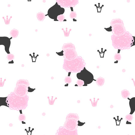 Seamless pattern with cute poodles and crowns in pink and black colors.