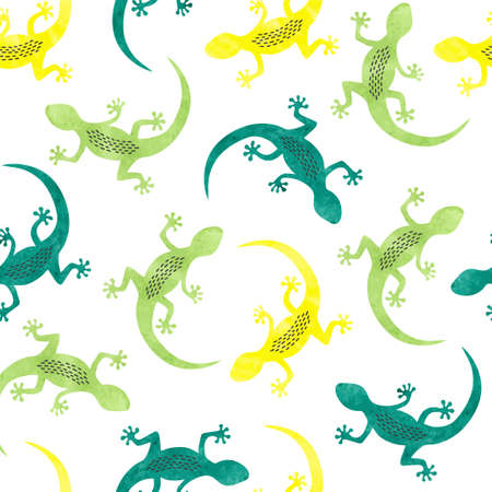 Seamless vector pattern with colorful lizards.