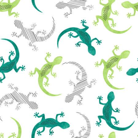 Seamless green lizard pattern.