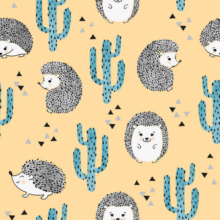 Seamless vector childish pattern with cute watercolor hedgehog and cactus. Vecteurs