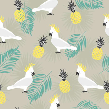 Seamless summer pattern with cute parrots, palm leaves and pineapples. Vector tropical background.