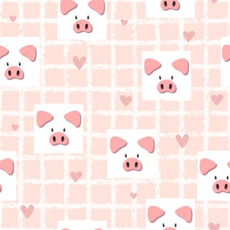Modèle vectoriel rose sans couture avec des cochons mignons. Imprimé bébé.