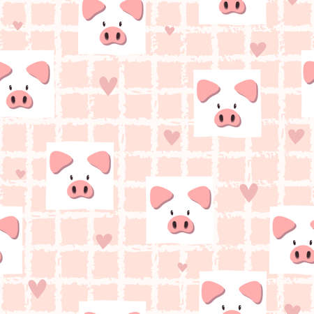 Seamless pink vector pattern with cute pigs. Baby print.