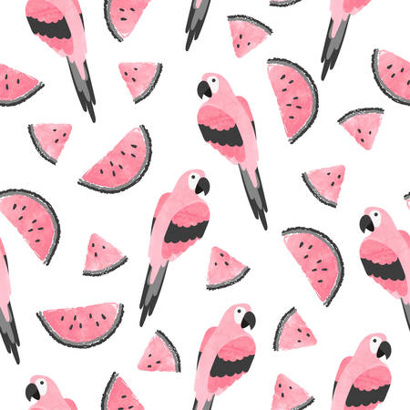 Seamless summer tropical trendy pattern with watercolor parrots and watermelon. Иллюстрация