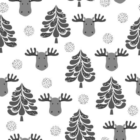 Winter vector pattern with tree and moose.