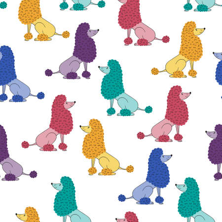 Seamless vector pattern with cute colorful poodle dog. Stock Illustratie