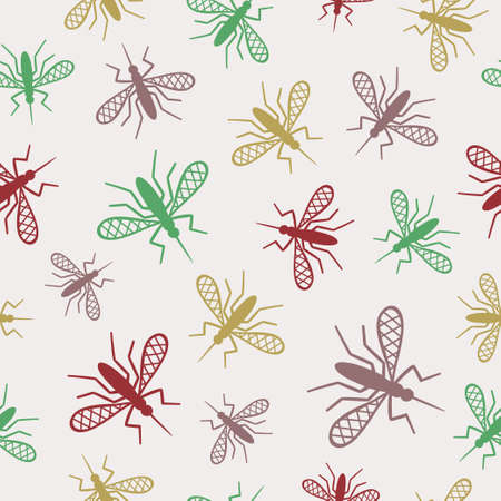 Seamless pattern with mosquito. Vector background, textile, fabric design. Illustration