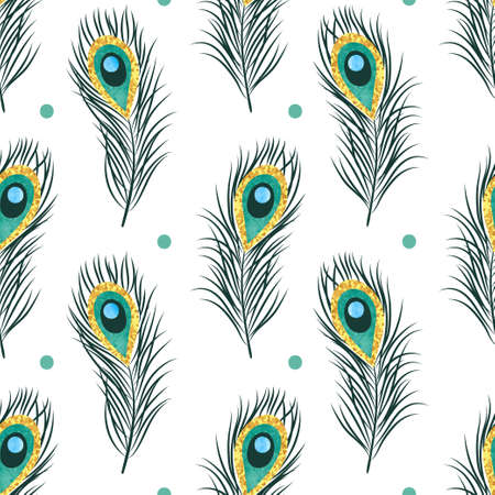 Seamless peacock feathers pattern. Vector background.