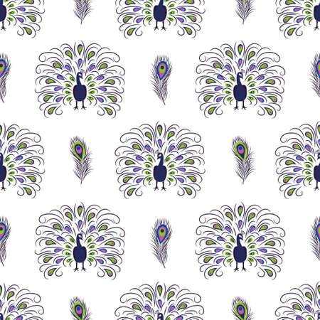 Seamless hand drawn peacock pattern. Vector background with beautiful birds.
