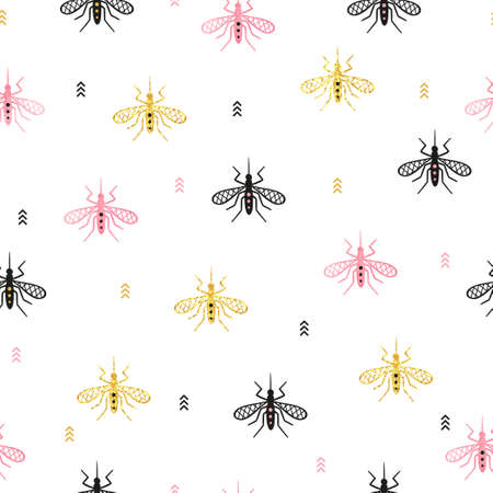 Seamless mosquito pattern. Vector background with gnat.
