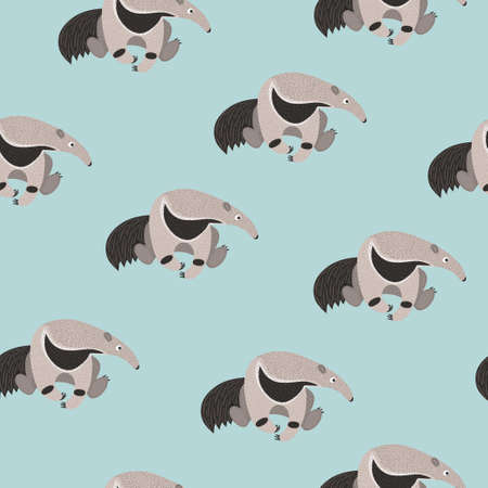 Seamless pattern with cute cartoon ant eater. Vector ant bear background for kids.