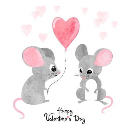 Acuarela lindos ratones enamorados. Diseño de tarjeta de San Valentín.