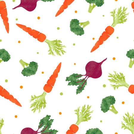 Seamless watercolor vegetables pattern with broccoli, carrot and beet. Vector background