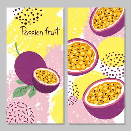 Illustrazione vettoriale di frutto della passione. Stampa estiva brillante. Vettoriali