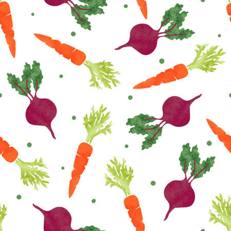 Seamless watercolor vegetables pattern with carrot and beet. Vector background