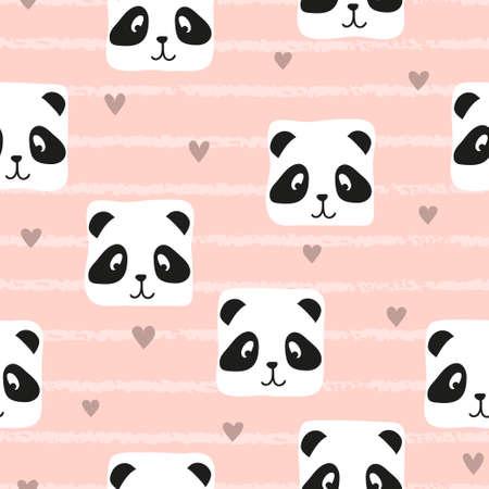 Seamless cute panda pattern. Baby print