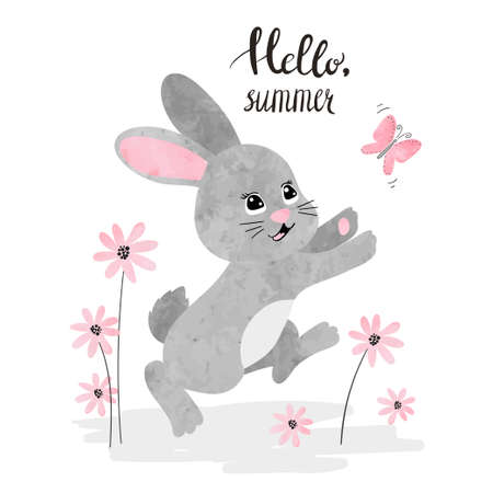Cute watercolor bunny and butterfly. Vector summer illustration. Baby print.