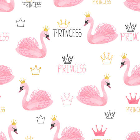Seamless swan princess pattern. Vector watercolor illustration.