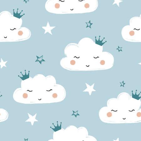 Seamless cute cartoon clouds pattern. Baby print.