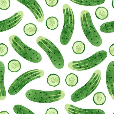 Modèle de concombre aquarelle vectorielle continue. Fond de légumes