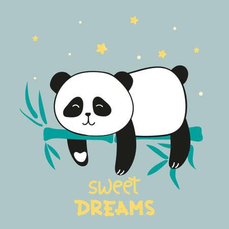 Ours panda endormi mignon. Illustration vectorielle de beaux rêves.