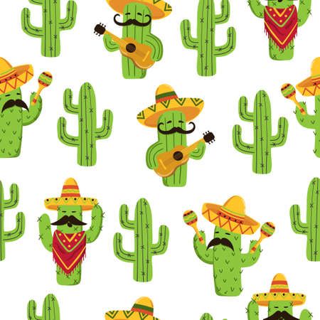 Mexican cactus seamless pattern. Cute cactus with guitar, sombrero, maracas. 矢量图像