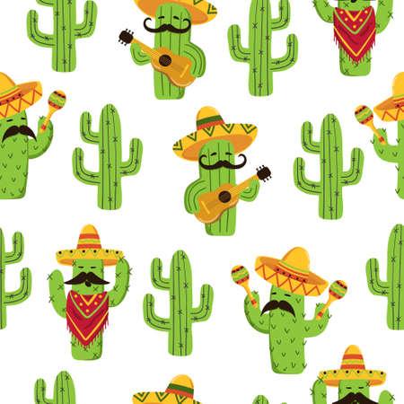 Nahtloses Muster des mexikanischen Kaktus. Netter Kaktus mit Gitarre, Sombrero, Maracas.