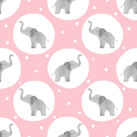 Watercolor cute elephants pattern. Vector seamless dotted background for kids. Vectores