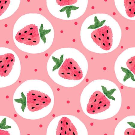 Nahtloses Erdbeermuster. Vektor gepunkteter Hintergrund.