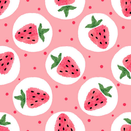 Seamless strawberry pattern. Vector dotted background.