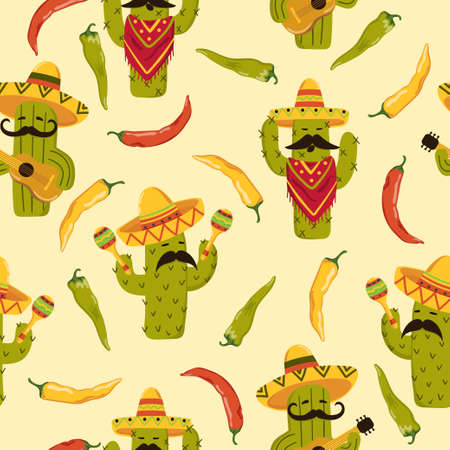 Seamless colorful Mexican pattern with cartoon cactus and chili pepper.