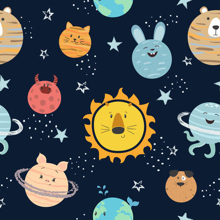 Cartoon solar system pattern. Space vector background with cute planets.